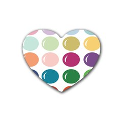 Brights Pastels Bubble Balloon Color Rainbow Rubber Coaster (Heart)