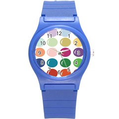 Brights Pastels Bubble Balloon Color Rainbow Round Plastic Sport Watch (S)