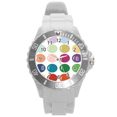 Brights Pastels Bubble Balloon Color Rainbow Round Plastic Sport Watch (L)