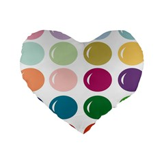 Brights Pastels Bubble Balloon Color Rainbow Standard 16  Premium Heart Shape Cushions