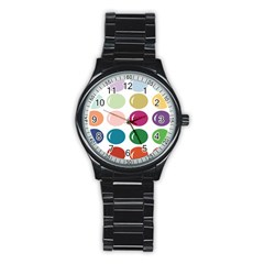 Brights Pastels Bubble Balloon Color Rainbow Stainless Steel Round Watch