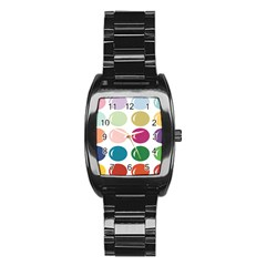 Brights Pastels Bubble Balloon Color Rainbow Stainless Steel Barrel Watch