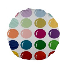 Brights Pastels Bubble Balloon Color Rainbow Standard 15  Premium Flano Round Cushions