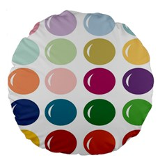 Brights Pastels Bubble Balloon Color Rainbow Large 18  Premium Flano Round Cushions