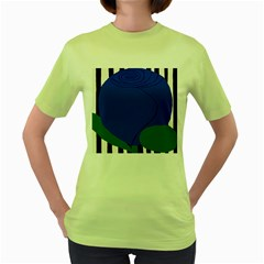 Blue Flower Leaf Black White Striped Rose Women s Green T-Shirt