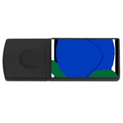 Blue Flower Leaf Black White Striped Rose USB Flash Drive Rectangular (1 GB)