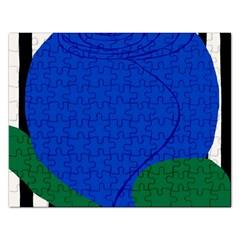 Blue Flower Leaf Black White Striped Rose Rectangular Jigsaw Puzzl