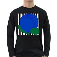 Blue Flower Leaf Black White Striped Rose Long Sleeve Dark T-Shirts