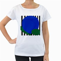 Blue Flower Leaf Black White Striped Rose Women s Loose-Fit T-Shirt (White)