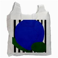 Blue Flower Leaf Black White Striped Rose Recycle Bag (One Side)