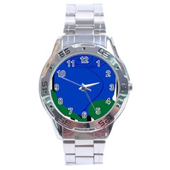 Blue Flower Leaf Black White Striped Rose Stainless Steel Analogue Watch
