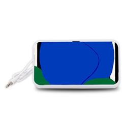 Blue Flower Leaf Black White Striped Rose Portable Speaker (White)