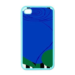 Blue Flower Leaf Black White Striped Rose Apple iPhone 4 Case (Color)