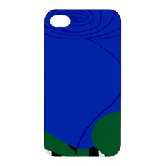 Blue Flower Leaf Black White Striped Rose Apple iPhone 4/4S Hardshell Case