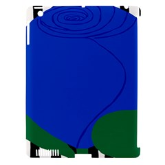 Blue Flower Leaf Black White Striped Rose Apple iPad 3/4 Hardshell Case (Compatible with Smart Cover)