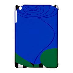 Blue Flower Leaf Black White Striped Rose Apple iPad Mini Hardshell Case (Compatible with Smart Cover)