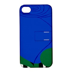 Blue Flower Leaf Black White Striped Rose Apple iPhone 4/4S Hardshell Case with Stand