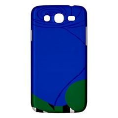 Blue Flower Leaf Black White Striped Rose Samsung Galaxy Mega 5.8 I9152 Hardshell Case