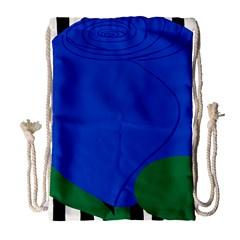 Blue Flower Leaf Black White Striped Rose Drawstring Bag (Large)