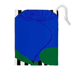Blue Flower Leaf Black White Striped Rose Drawstring Pouches (Extra Large)