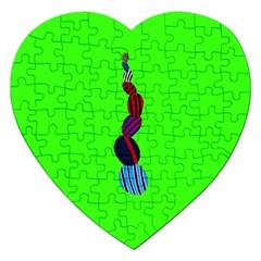 Egg Line Rainbow Green Jigsaw Puzzle (Heart)
