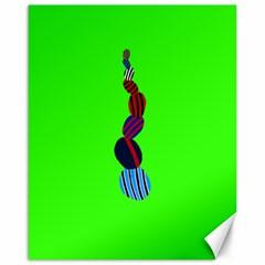 Egg Line Rainbow Green Canvas 16  x 20