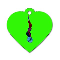 Egg Line Rainbow Green Dog Tag Heart (two Sides)