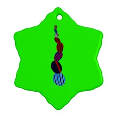 Egg Line Rainbow Green Snowflake Ornament (Two Sides)