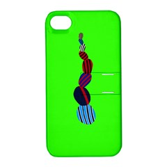 Egg Line Rainbow Green Apple iPhone 4/4S Hardshell Case with Stand