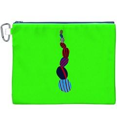 Egg Line Rainbow Green Canvas Cosmetic Bag (XXXL)