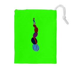 Egg Line Rainbow Green Drawstring Pouches (Extra Large)