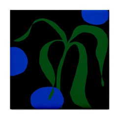 Flower Green Blue Polka Dots Tile Coasters