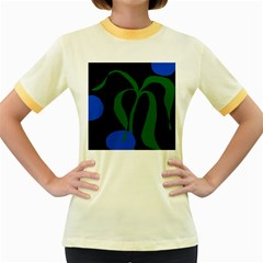 Flower Green Blue Polka Dots Women s Fitted Ringer T-Shirts