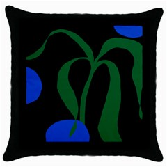 Flower Green Blue Polka Dots Throw Pillow Case (Black)
