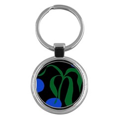 Flower Green Blue Polka Dots Key Chains (Round)