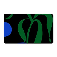 Flower Green Blue Polka Dots Magnet (Rectangular)