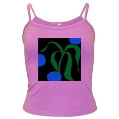 Flower Green Blue Polka Dots Dark Spaghetti Tank