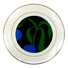 Flower Green Blue Polka Dots Porcelain Plates