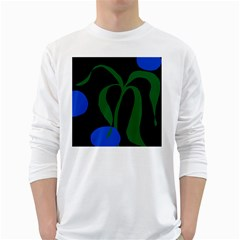 Flower Green Blue Polka Dots White Long Sleeve T-Shirts