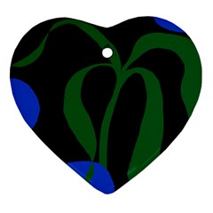 Flower Green Blue Polka Dots Heart Ornament (Two Sides)