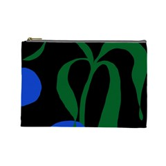 Flower Green Blue Polka Dots Cosmetic Bag (Large)