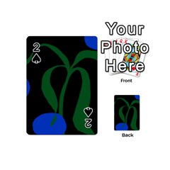 Flower Green Blue Polka Dots Playing Cards 54 (Mini)