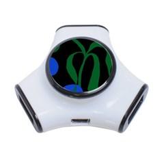 Flower Green Blue Polka Dots 3-Port USB Hub