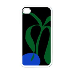 Flower Green Blue Polka Dots Apple Iphone 4 Case (white)