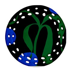 Flower Green Blue Polka Dots Round Filigree Ornament (Two Sides)