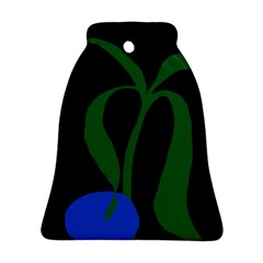 Flower Green Blue Polka Dots Bell Ornament (Two Sides)