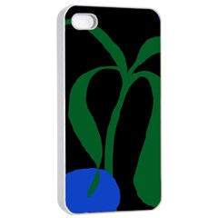 Flower Green Blue Polka Dots Apple iPhone 4/4s Seamless Case (White)