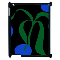 Flower Green Blue Polka Dots Apple iPad 2 Case (Black)