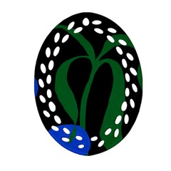 Flower Green Blue Polka Dots Oval Filigree Ornament (Two Sides)