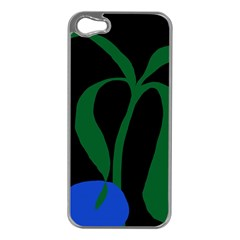 Flower Green Blue Polka Dots Apple iPhone 5 Case (Silver)